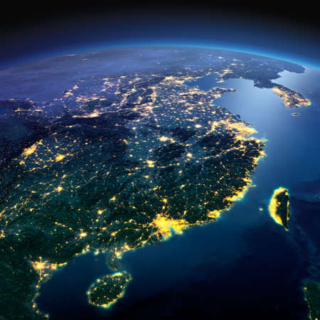 china map: Night planet Earth with precise detailed relief and city lights illuminated by moonlight. Eastern China and Taiwan. Elements of this image furnished by NASA