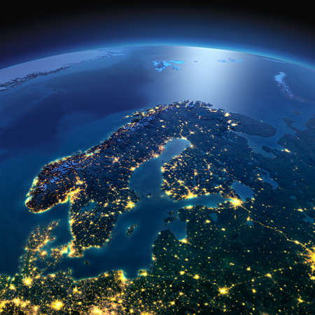 Night planet Earth with precise detailed relief and city lights illuminated by moonlight. Europe. Scandinavia. Elements of this image furnished by NASA