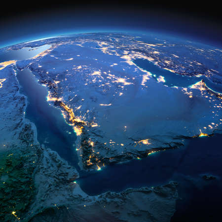 Night planet Earth with precise detailed relief and city lights illuminated by moonlight. Saudi Arabia. Elements of this image furnished by NASA Фото со стока