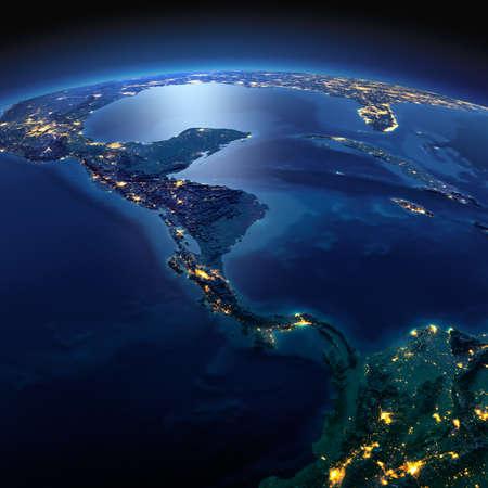 正確なと夜地球は、月明かりで照らされた救済と都市のライトを詳しく説明します。中央アメリカの国。NASA から提供されたこのイメージの要素