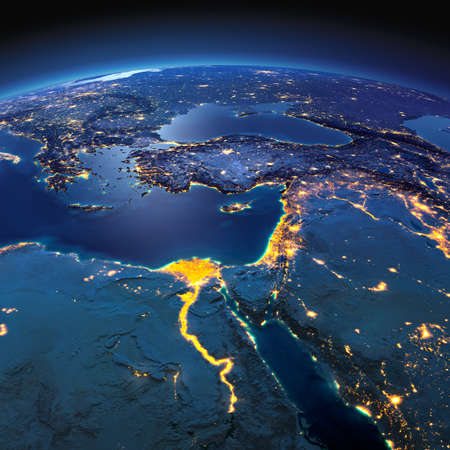 Night planet Earth with precise detailed relief and city lights illuminated by moonlight. Africa and Middle East. Elements of this image furnished by NASA