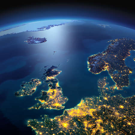 Night planet Earth with precise detailed relief and city lights illuminated by moonlight. United Kingdom and the North Sea. Elements of this image furnished by NASA Foto de archivo