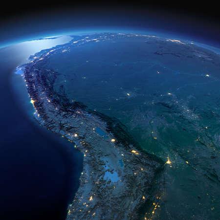 mapa de venezuela: Noche planeta Tierra con luces de socorro y de la ciudad de una manera precisa iluminadas por la luz de la luna. Sudamerica. Bolivia, Perú, Brasil. Los elementos de esta imagen proporcionada por la NASA