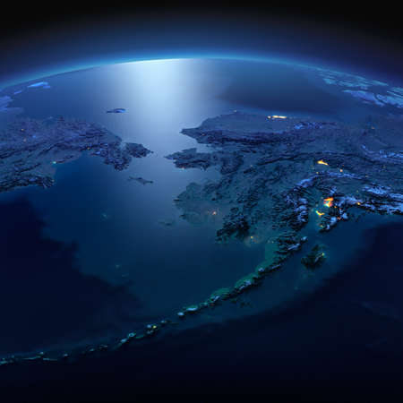 Night planet Earth with precise detailed relief and city lights illuminated by moonlight.  Chukotka, Alaska and the Bering Strait. Elements of this image furnished by NASA 版權商用圖片