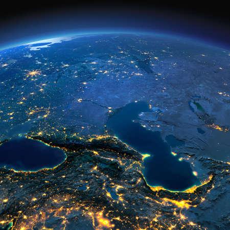 luz de luna: Noche planeta Tierra con luces de socorro y de la ciudad de una manera precisa iluminadas por la luz de la luna. Cáucaso y el Mar Caspio. Los elementos de esta imagen proporcionada por la NASA Foto de archivo