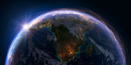 Planet Earth with detailed relief and atmosphere is covered with a network of air routes based on real data. South Africa and Madagascar. 3D rendering. Elements of this image furnished by Stock Photo - 120883977