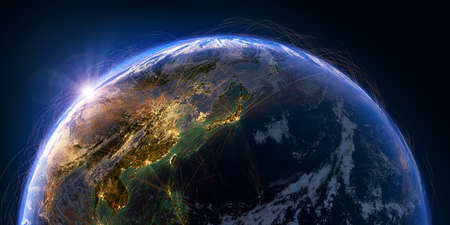 Planet Earth with detailed relief and atmosphere is covered with a network of air routes based on real data. Pacific Ocean. Japan, China. 3D rendering. Elements of this image furnished by Banco de Imagens