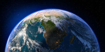 Planet Earth with detailed relief and atmosphere. Day and Night. South Africa and Madagascar. 3D rendering. Elements of this image furnished by