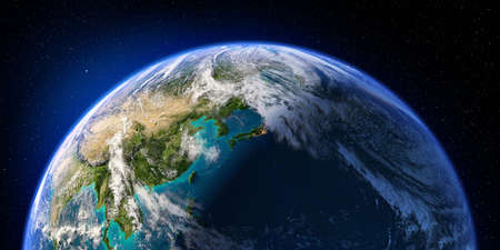Planet Earth with detailed relief and atmosphere. Day and Night. Pacific Ocean. Japan, China. 3D rendering. Elements of this image furnished by