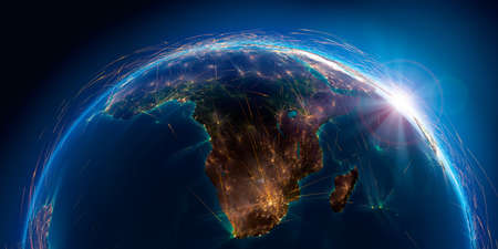 Planet Earth with detailed relief is covered with a complex luminous network of air routes based on real data. South Africa and Madagascar. 3D rendering.