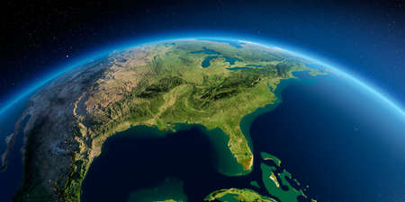 Highly detailed planet Earth in the morning. Exaggerated precise relief lit morning sun. Detailed Earth. Gulf of Mexico and Florida. 3D rendering. Reklamní fotografie