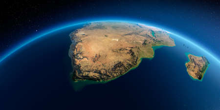 Highly detailed planet Earth in the morning. Exaggerated precise relief lit morning sun. Detailed Earth. South Africa. 3D rendering.