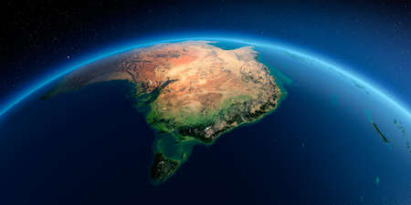 Highly detailed planet Earth in the morning. Exaggerated precise relief lit morning sun. Detailed Earth. Australia and Tasmania. 3D rendering. Stock fotó