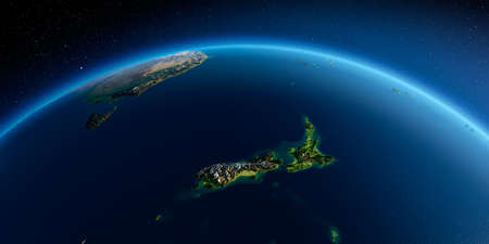 Highly detailed planet Earth. Exaggerated precise relief is illuminated by the rising sun from the east. Part of the Pacific Ocean, New Zealand. 3D rendering. 写真素材 - 124604556
