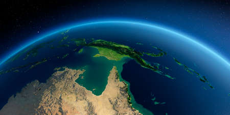Highly detailed planet Earth in the morning. Exaggerated precise relief lit morning sun. Detailed Earth. Australia and Papua New Guinea. 3D rendering.