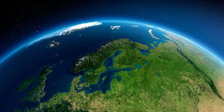 Highly detailed planet Earth in the morning. Exaggerated precise relief lit morning sun. Detailed Earth. Europe. Scandinavia. 3D rendering. Stock fotó