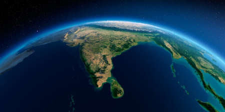 Highly detailed planet Earth in the morning. Exaggerated precise relief lit morning sun. Detailed Earth. India and Sri Lanka. 3D rendering. Stock Photo