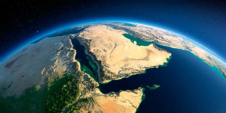 Highly detailed planet Earth in the morning. Exaggerated precise relief lit morning sun. Near East - Arabian Peninsula, Gulf of Aden, Saudi Arabia. 3D rendering.