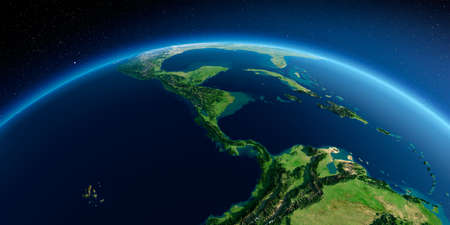 Highly detailed planet Earth in the morning. Exaggerated precise relief lit morning sun. Detailed Earth. The countries of Central America. 3D rendering. Stock fotó