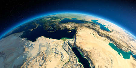 Highly detailed planet Earth in the morning. Exaggerated precise relief lit morning sun. Africa and Middle East. 3D rendering.