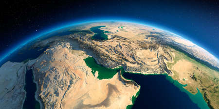 Highly detailed planet Earth in the morning. Exaggerated precise relief lit morning sun. Persian Gulf. 3D rendering. Stock fotó