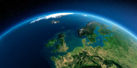 Highly detailed planet Earth in the morning. Exaggerated precise relief lit morning sun. Detailed Earth. United Kingdom and the North Sea. 3D rendering.