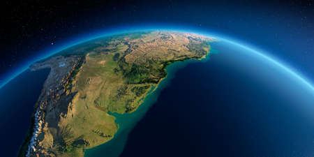 Highly detailed planet Earth in the morning. Exaggerated precise relief lit morning sun. Detailed Earth. South America. Rio de La Plata. 3D rendering.