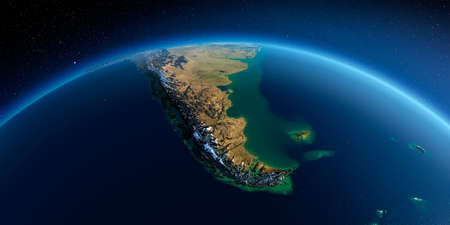 Highly detailed planet Earth in the morning. Exaggerated precise relief lit morning sun. Detailed Earth. South America. Tierra del Fuego. 3D rendering.