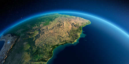 Highly detailed planet Earth in the morning. Exaggerated precise relief lit morning sun. South America, East Coast of Brazil. 3D rendering.