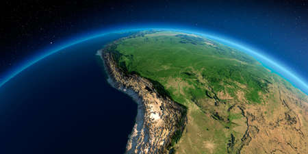 Highly detailed planet Earth in the morning. Exaggerated precise relief lit morning sun. Detailed Earth. Bolivia, Peru, Brazil. 3D rendering. Stock fotó