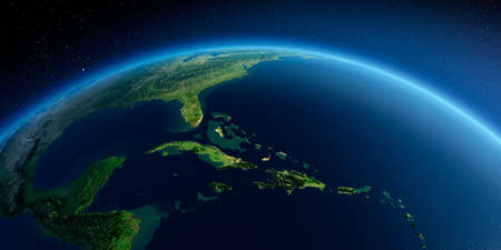 Highly detailed planet Earth in the morning. Exaggerated precise relief lit morning sun. Detailed Earth. Caribbean Sea and the Gulf of Mexico. 3D rendering. Stock fotó