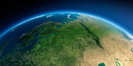 Sehr detaillierter Planet Erde am Morgen. Übertrieben präzises Relief beleuchtete Morgensonne. Detaillierte Erde. Europäischer Teil Russlands. 3D-Rendering.
