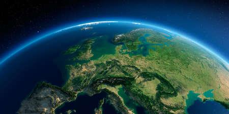 Sehr detaillierter Planet Erde am Morgen. Übertrieben präzises Relief beleuchtete Morgensonne. Detaillierte Erde. Zentraleuropa. 3D-Rendering.