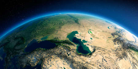 Highly detailed planet Earth in the morning. Exaggerated precise relief lit morning sun. Detailed Earth. Caucasus. 3D rendering. Stock fotó
