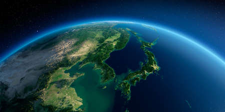 Highly detailed planet Earth in the morning. Exaggerated precise relief lit morning sun. Detailed Earth. Korea and Japan. 3D rendering. Stock fotó