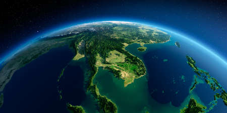 Highly detailed planet Earth in the morning. Exaggerated precise relief lit morning sun. Detailed Earth. Indochina peninsula. 3D rendering.
