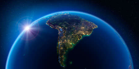 Planet Earth at night with the rising sun with the light of cities illuminating a detailed exaggerated relief. South America. 3D rendering.