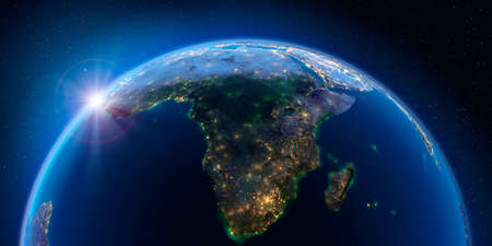 Planet Earth at night with the rising sun with the light of cities illuminating a detailed exaggerated relief. South Africa and Madagascar. 3D rendering. Stock Photo - 126241198