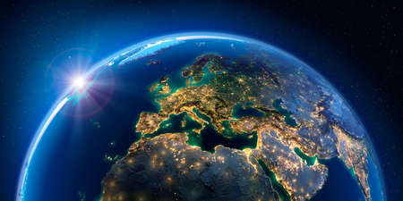 Planet Earth at night with the rising sun with the light of cities illuminating a detailed exaggerated relief. Europe. 3D rendering.