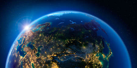 Planet Earth at night with the rising sun with the light of cities illuminating a detailed exaggerated relief. Russia. 3D rendering.