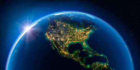 Planet Earth at night with the rising sun with the light of cities illuminating a detailed exaggerated relief. North America. 3D rendering. Stock Photo
