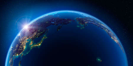 Planet Earth at night with the rising sun with the light of cities illuminating a detailed exaggerated relief. Pacific Ocean. 3D rendering.