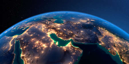 Night planet Earth with precise detailed relief and city lights illuminated by moonlight. Persian Gulf. 3D rendering. Stock fotó