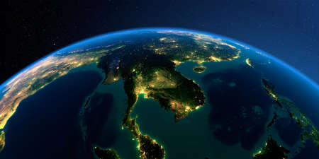 Night planet Earth with precise detailed relief and city lights illuminated by moonlight. Indochina peninsula. 3D rendering.