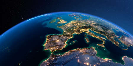 Night planet Earth with precise detailed relief and city lights illuminated by moonlight. Part of Europe, the Mediterranean Sea. 3D rendering.