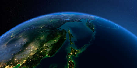 Planet Earth with detailed relief at night lit by the lights of cities. Russian Far East, Sea of Okhotsk, the Kamchatka Peninsula, Sakhalin Island. 3D rendering.