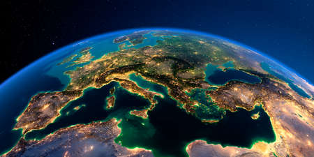Planet Earth with detailed relief at night lit by the lights of cities. Europe. Mediterranean Sea. 3D rendering.
