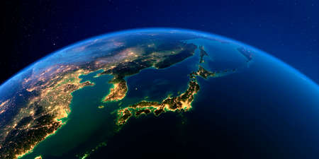 Planet Earth with detailed exaggerated relief at night lit by the lights of cities. Part of Asia, Japan and Korea, Japanese sea. 3D rendering.