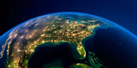 Planet Earth with detailed exaggerated relief at night lit by the lights of cities. North America. USA. Gulf of Mexico and Florida. 3D rendering. Фото со стока