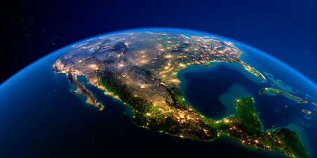 Planet Earth with detailed exaggerated relief at night lit by the lights of cities. Mexico. 3D rendering.